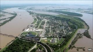 An aerial photo showing the threat of massive flooding in Missouri
