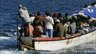 African migrant boat off Canary Islands (file pic)