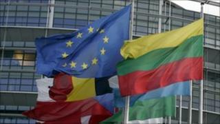 Flags outside EU parliament