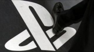 Playstation sign on the floor