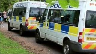 Police vans at Kelvingrove park