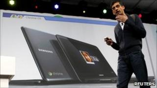 Sundar Pichai of Google announces a Samsung Chromebook