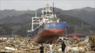 A ship pushed on to land in Kesennuma, Miyagi prefecture, on 2 April 2011
