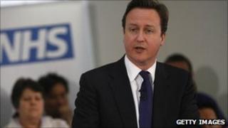 David Cameron addresses staff at Frimley Park Hospital in Surrey on 6 April 2011