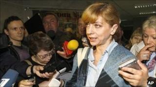 Irina Khalip speaking after her sentencing