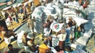 Rice sacks in Bangladesh