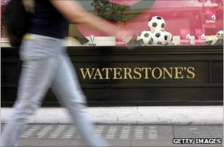 Person walks past Waterstone's
