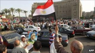 Demonstrators in Tahrir Square on Labour Day
