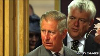 Carwyn Jones arriving at the Senedd with Prince Charles