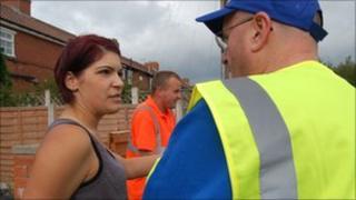 Councillor Mark Dobson speak to Becky Allatt