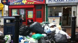 Rubbish pilling up on the city's streets