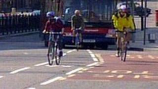 Cyclists on Blackfriars Bridge