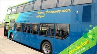 Guided bus
