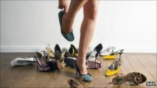 Woman trying on high heels