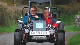 Peter Williams and Alison Kidd with a b bug
