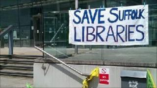 Campaigners' banner at Suffolk County Council