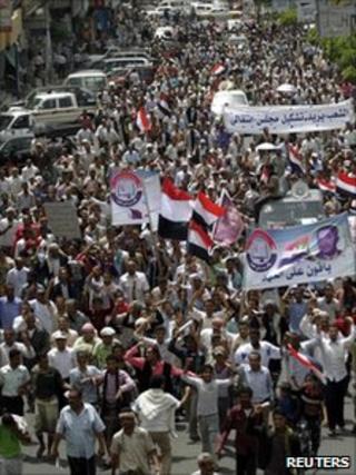 Anti-government protesters in Taiz, 15 June