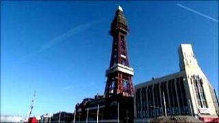 Blackpool Tower and promenade during construction work