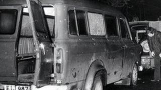 the bullet riddled minibus near Kingsmill in South Armagh in which 10 Protestant workmen were massacred