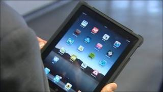 Hand-held tablet computer with apps