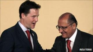 Nick Clegg (left) meets Geraldo Alckmin, the Governor of Sao Paulo state