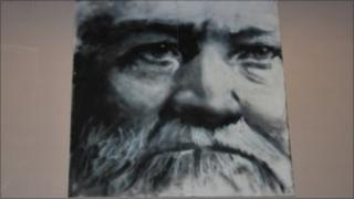 A picture of Andrew Carnegie which hangs in Swinton library