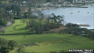An aerial view of the Roman fort at Ambleside