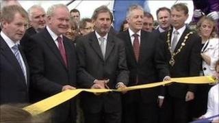 John Hume, Martin Mcguinness, Enda kenny, Johannes Hahn, Peter Robinson, Nelson McCausland, Maurice Devenney cutting ribbons