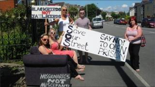 Campaigners protesting against plans for a hostel in Queen Victoria Road, Llanelli