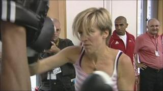 Charlotte Leslie boxing at the launch of the all-party group