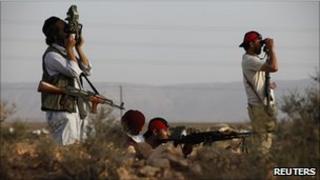 Libyan rebels near the western town of Chakchuk, 4 June 2011