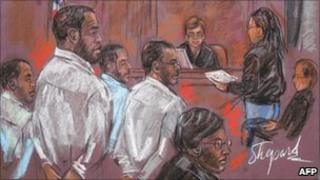 The four men, shown in a courtroom sketch in October