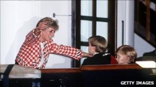 Princess Diana greeting young William and Harry in Canada in 1991