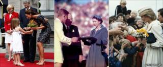 Duchess of Cambridge in Canada; Queen Elizabeth in Australia in 1954; Princess Diana in New Zealand, 1983