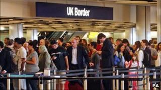 Passengers arriving at a UK border check