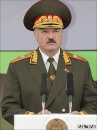 Belarussian President Alexander Lukashenko delivers a speech as he takes part in celebrations marking Independence Day in Minsk, 3 July 2011