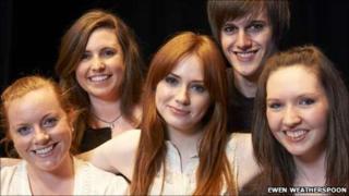 Karen Gillan with students. Pic: Ewen Weatherspoon