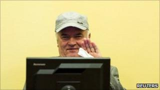 Former Bosnian Serb commander Ratko Mladic appears in court at the International Criminal Tribunal for the former Yugoslavia (ICTY) in the Hague