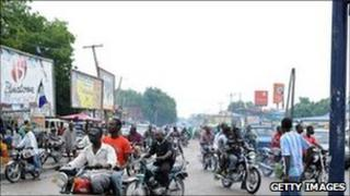 Motorbikes on a road in Maiduguri (July 2010)