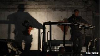 Federal policeman at a crime scene in Monterrey, Mexico