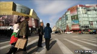 Shoppers walks through shopping street in Beijing