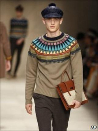 A model wears a creation of Burberry's men's Spring-Summer 2012 collection, part of the Milan Fashion Week
