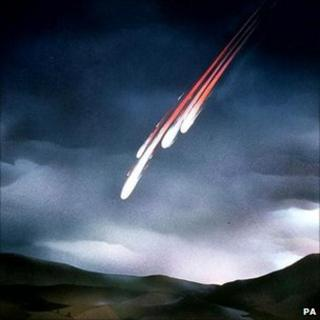 Artists impression of a meteorite fall
