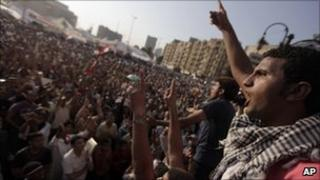 Protesters at Tahrir Square in Cairo, 12 July