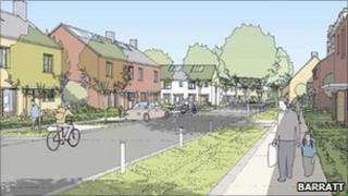 Artist's impression of new development at Trumpington Meadows, Cambridge