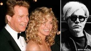 Ryan O'Neal, Farrah Fawcett and Andy Warhol