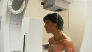 Women having a mammogram