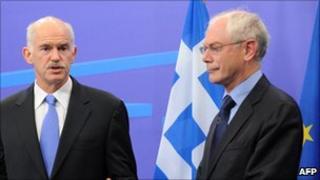 Greek Prime Minister George Papandreou (left) and EU Council President Herman Van Rompuy - file pic