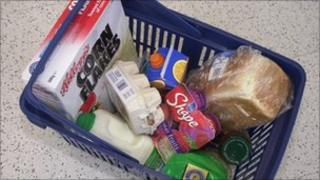 Some food in a shopping basket