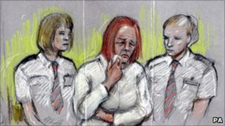 An artist's image of Rebecca Leighton in the dock